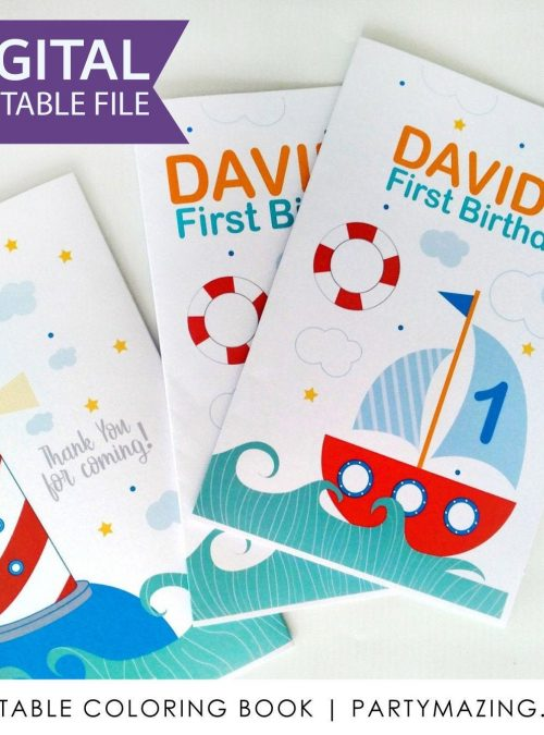 Nautical Coloring Books   Printable First Birthday Party Favor   kid's Activity Booklet   Party Favors   PK09  E427