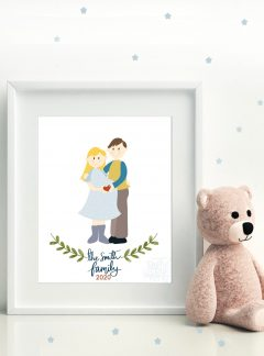 New Baby Family Portrait Drawing | Pregnancy Hand-Drawn Illustration Art Print Cartoon Style  | PK07 | E490