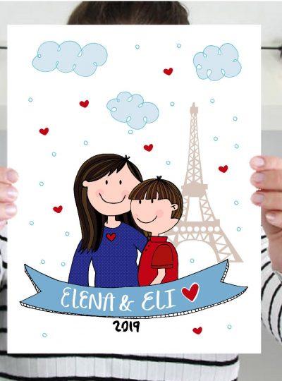 New Baby Family Portrait Drawing | Pregnancy Hand-Drawn Illustration Art Print Cartoon Style  | PK07 | E490