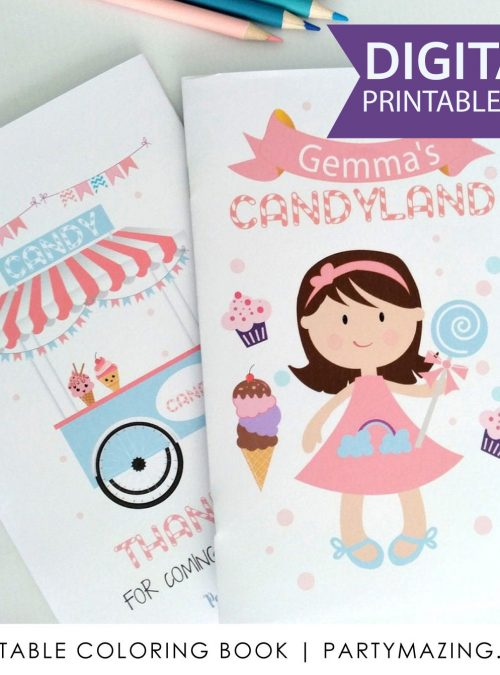 Personalized Candyland Coloring Book | Printable Birthday Party Favor | Kids Virtual Party Favor | Children's Activity Booklet | PK05 | E414