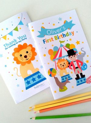 Personalized Circus Printable Coloring Books | E424