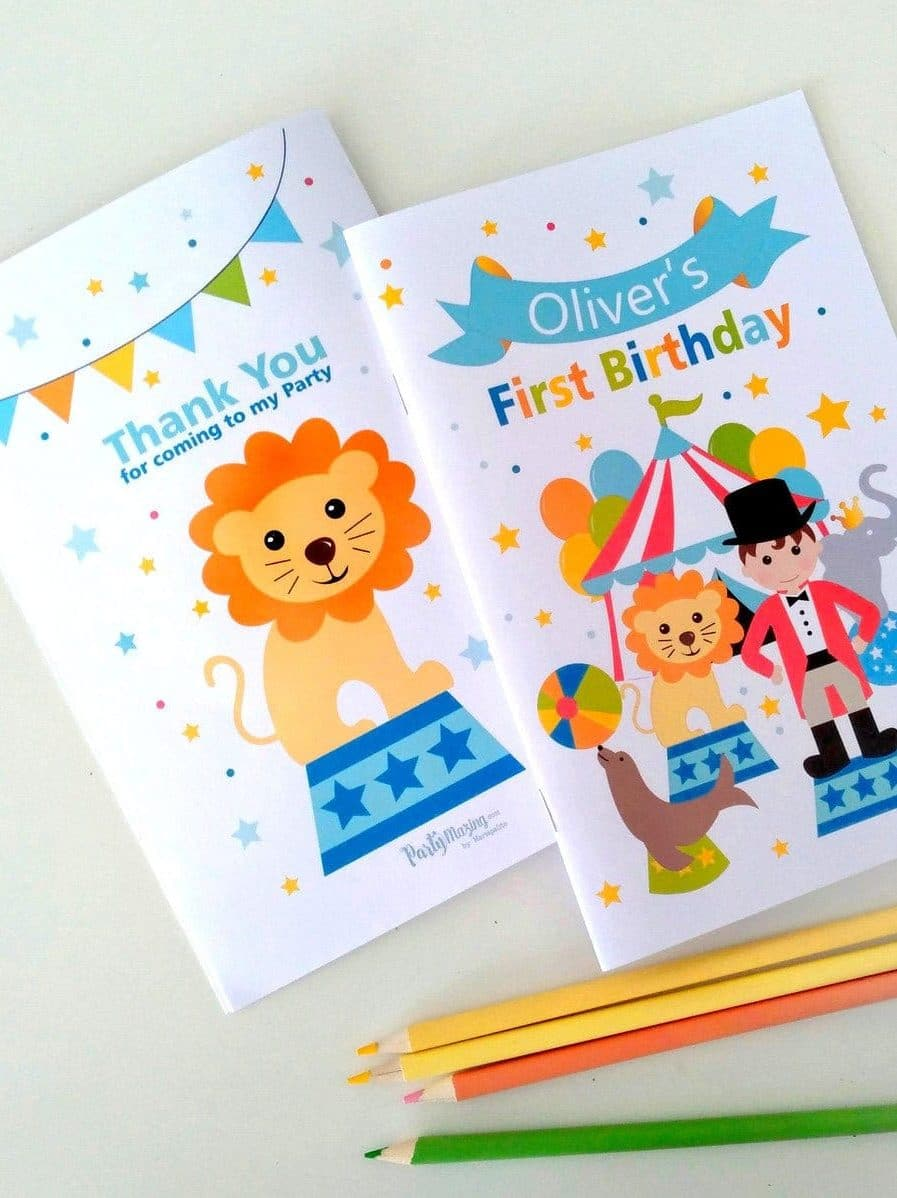 CIRCUS BIRTHDAY PRINTABLE COLORING BOOK BY PARTYMAZING