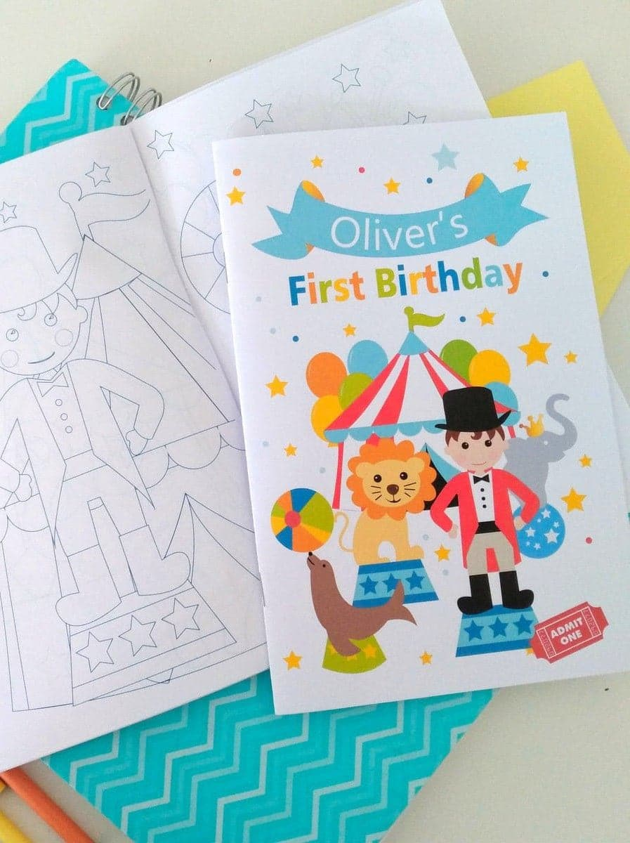 CIRCUS FIRST BIRTHDAY PRINTABLE COLORING BOOK BY PARTYMAZING