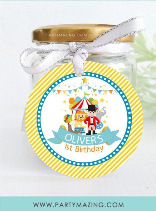 Personalized Circus Party Favor Tag | Printable Birthday Parade Gift Tag | 2.5 Inches Round and Square Tag | E514