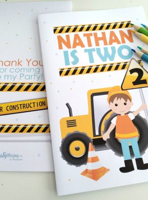 Personalized Construction Printable Coloring Book| E413