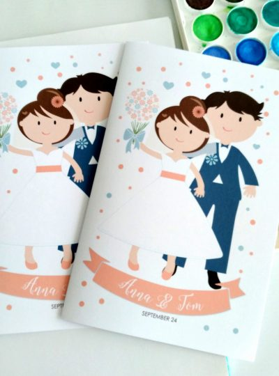 Personalized Coral Wedding Printable Coloring Book for Kids E472