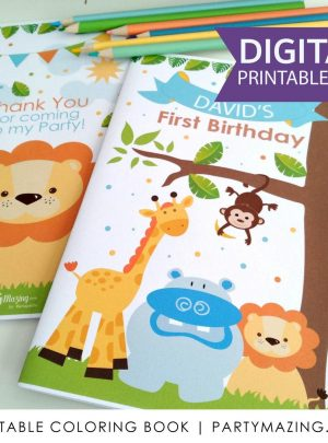 Personalized Jungle Birthday Printable Coloring Book E418