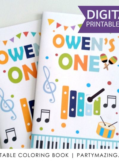 Personalized Music Printable Coloring Book Favor E435