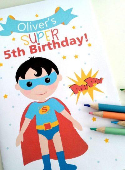 Personalized Superhero Printable Coloring Book | E425