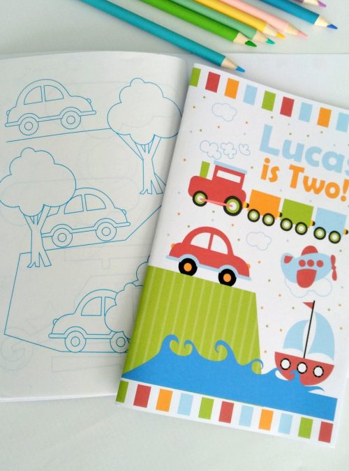 Personalized Transportation Coloring Books   Printable Birthday Party Favor   Children's Activity Booklet   PK09   E426