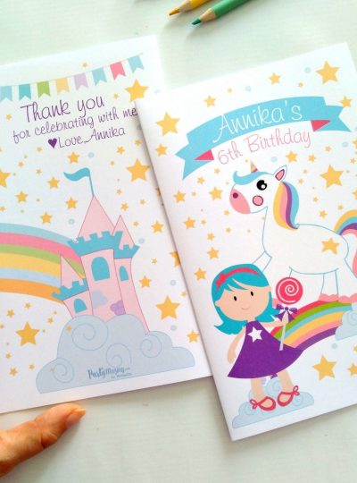Personalized Unicorn Printable Coloring Book Party Favor E437