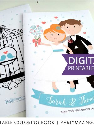 Personalized Wedding Printable Coloring Book E408