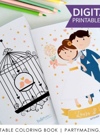 Personalized Wedding Printable Coloring Book E404