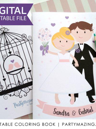 Personalized Wedding Favor Printable Coloring Book E434