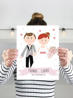 Personalized Wedding Printable Wedding Keepsake | Mr & Mrs Cartoon Personalized Print E344