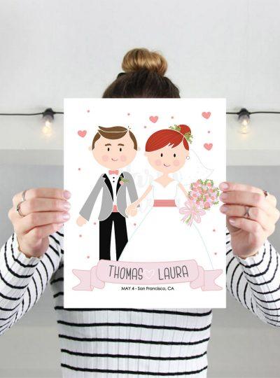 Personalized Wedding Printable Wedding Keepsake | Mr & Mrs Cartoon Personalized Print E344