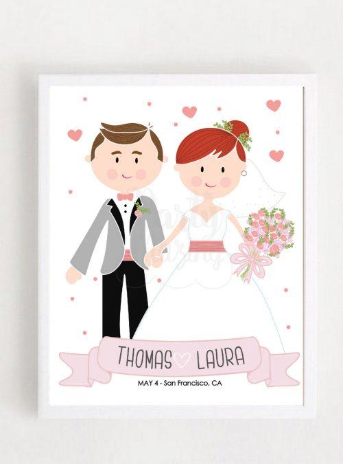 Personalized Wedding Print, Wedding Keepsake, Mr & Mrs Print, Cartoon Wedding Gift, Personalized Print | Anniversary Gift | PK07 |E344