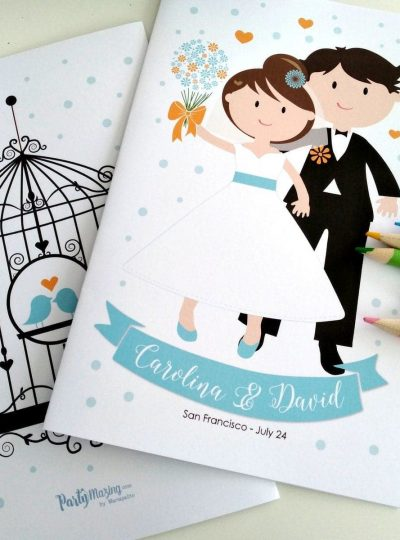 Personalized Wedding Printable Coloring Books for Kids E373