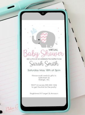 Pink Elephant Virtual Baby Shower Digital Invitation |  Phone Text Invitation | E511