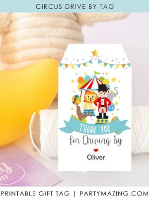 Printable Curcus Birthday Thank You Tags | First Birthday Ringmaster Boy Tag | E513