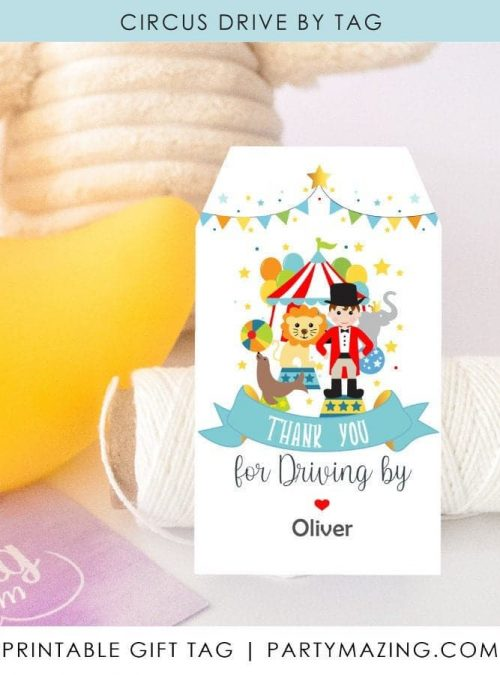 Printable Curcus Birthday Thank You Tags | Circus First Birthday Ringmaster Boy Tag | Editable Label | E513