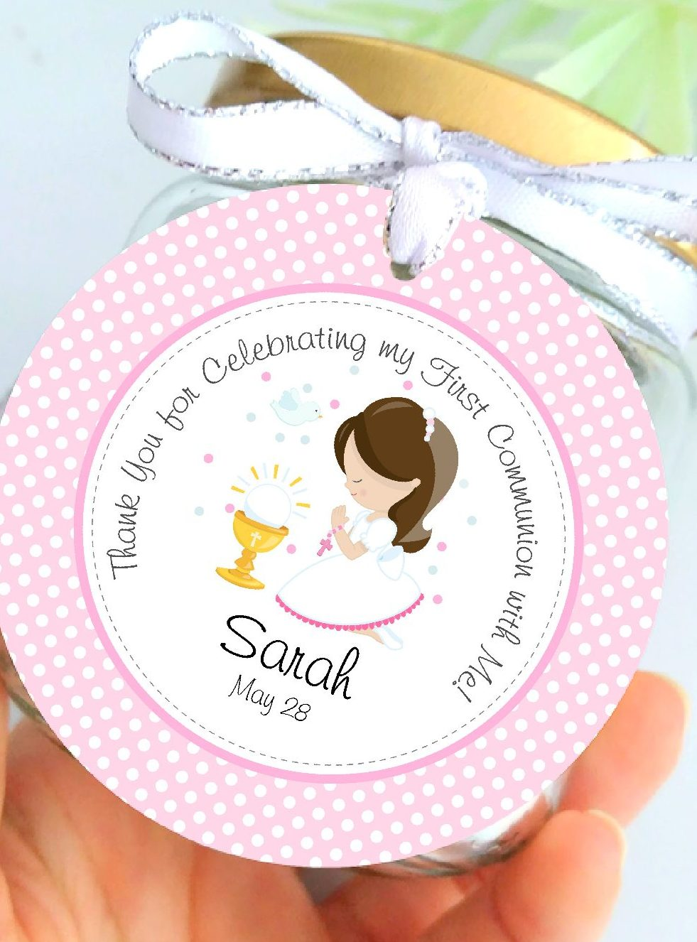 Printable Girl First Communion Favor Tag Template. Girl First Communion Party Ideas and Templates to make an amazing Party. Get inspired to create your own unforgettable celebration for your little girl.