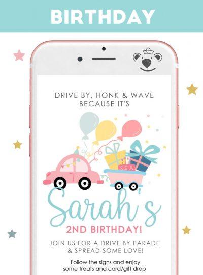 Girly Drive By Birthday Digital Invitation E341