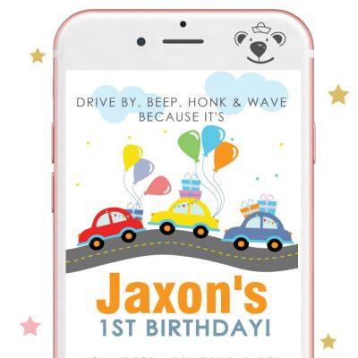 Little Cars Drive By Birthday Parade Drive Invitation |PK33| E384