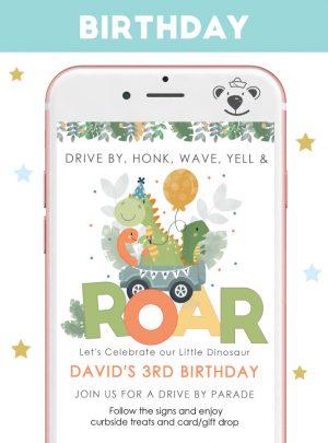 Dino Drive By Birthday Parade Digital Invitation| E438