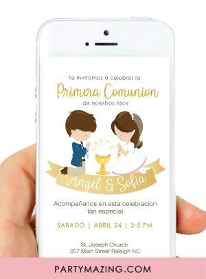 Gold Ribbon Invitacion Primera Comunión Niño y Niña E047