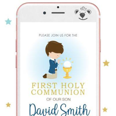 Boy First Holy Communion Digital Invitation  PK06   E049