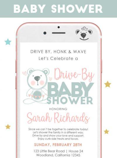 Little Bear Drive By Baby Shower Digital Invitation E061