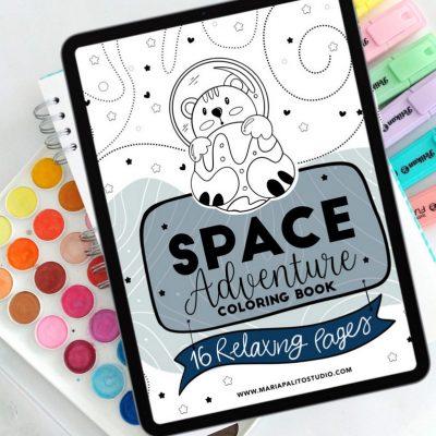 16 Page Space Adventure Digital Coloring Book E522