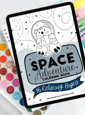 16 Page Space Digital Coloring Book for Ipad or Printing  E522-1