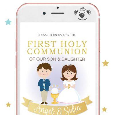 Girl and Boy First Communion Digital Invitation   PK06   E050