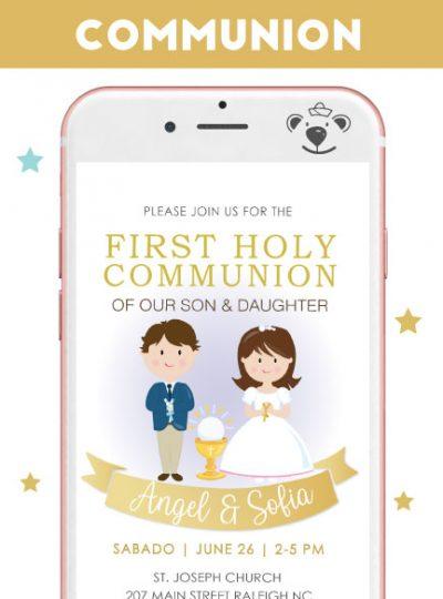 Girl and Boy First Communion Digital Invitation E050