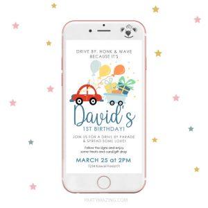 Red Car Drive By Birthday Parade Digital Invitation |PK33| E258