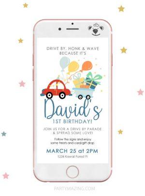 Red Car Drive By Birthday Parade Digital Invitation E258