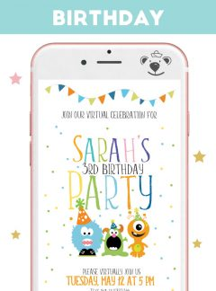 Little Monster Party Digital Invitation for Phone or Print  E293