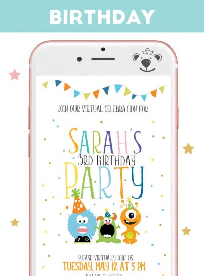 Little Monster Party Digital Invitation for Phone or Print| E293