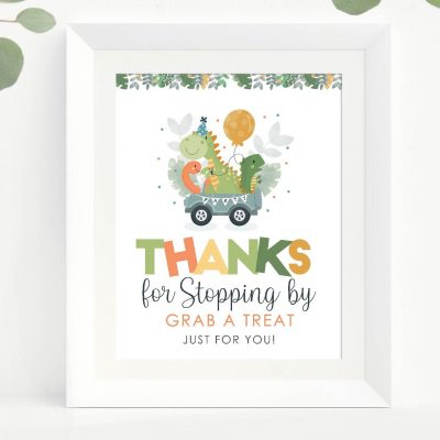 Dino Thank you for Driving By Sign | Printable Party Sign| PK08 | E474