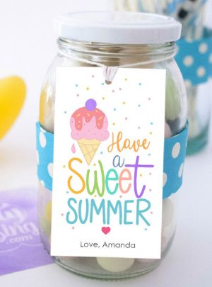 Printable Ice Cream Sweet Summer Gift Tag Template   E534