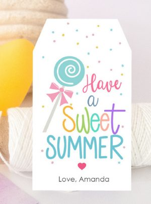 Printable Lollipop Sweet Summer Candy Gift Tag | E535