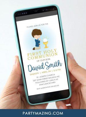 Boy First Holy Communion Digital Invitation E049