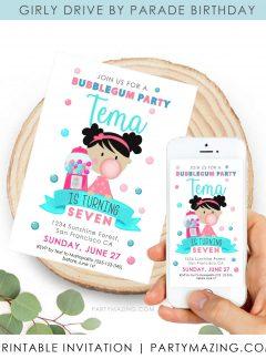 Bubble Gum Party Digital Invitation   Gumball Machine   E524