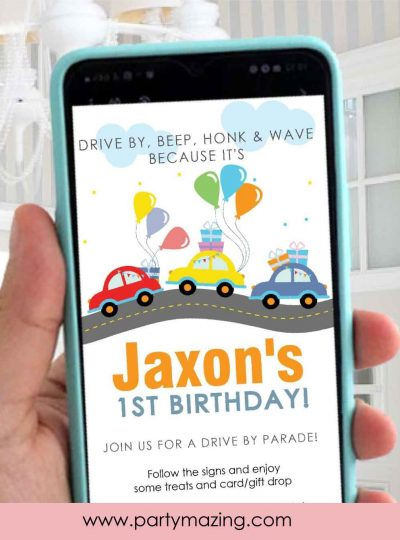 Little Cars Drive By Birthday Parade Drive Invitation E384