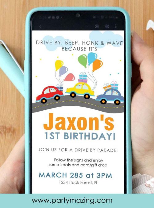 Cars Road Drive By Birthday Parade Text Invitation | Toddler TEXT or Email Invitation | Quarantine First Birthday | E384