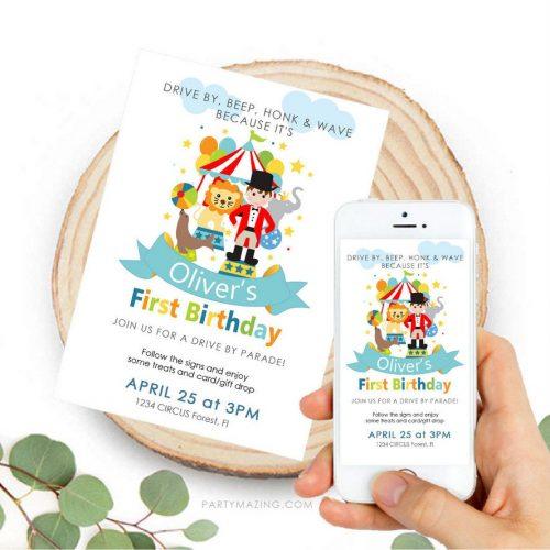 Circus Birthday Drive By Invitation | Circus Ringmaster Phone Digital Invitation | Birthday Parade | Personalized Invite | E512