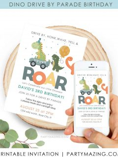 Dino Drive By Birthday Invitation for Phone or Printing | E141