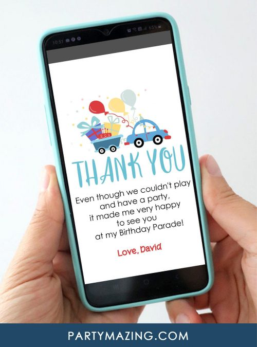 Driving By Thank you E-Card Digital Card | Drive Through Phone Thank You card Birthday Parade | Send by Phone or Printable Card | E506